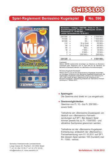 Spiel-Reglement Benissimo Kugelspiel No. 596 - Swisslos