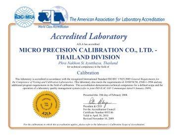 MICRO PRECISION CALIBRATION CO., LTD. - THAILAND DIVISION