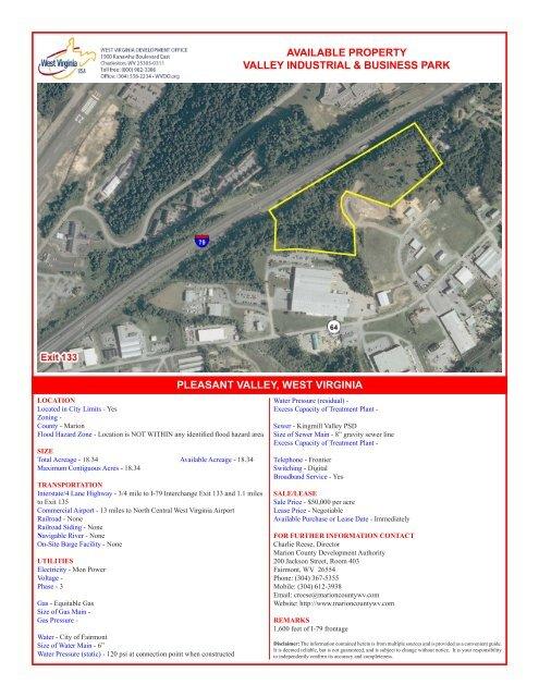 Valley Industrial & Business Park - West Virginia Department of ...