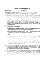 Sanctions Warranty and Indemnity Letter Waybill Number ... - DHL