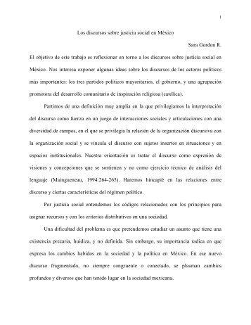 Los discursos sobre justicia social en México Sara Gordon R. El ...