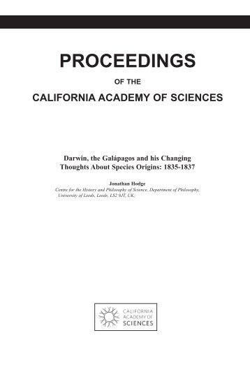 PROCEEDINGS - The Complete Work of Charles Darwin Online