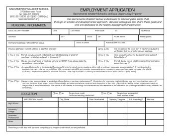 EMPLOYMENT APPLICATION - Sacramento Waldorf School