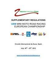 UEM MINI MOTO ROAD RACING EUROPEAN CHAMPIONSHIP