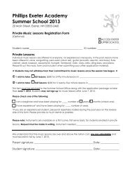 Private Music Lessons Registration Form - Phillips Exeter Academy
