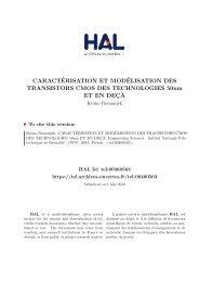 CARACTÉRISATION ET MODÉLISATION DES TRANSISTORS ...