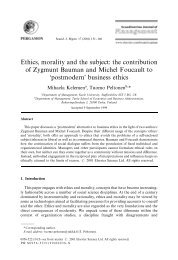 Ethics, morality and the subject: the contribution of Zygmunt Bauman ...