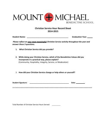 Service Hour Form. What Students Do To Earn Hours Volunteer At A ...