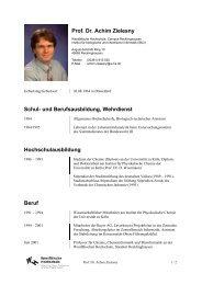 Prof. Dr. Achim Zielesny - Westfälische Hochschule