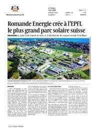 Romande Energie crée à1 EPFL le plus grand parc solaire suisse