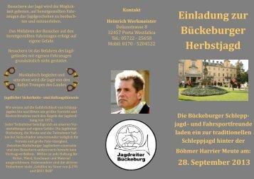 Einladung zur Bückeburger Herbstjagd - Jagdreiter Bückeburg