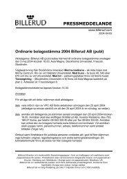 PRESSMEDDELANDE - Billerud AB