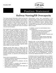 Hallway Nursing/ER Overcapacity - Ontario Nurses' Association