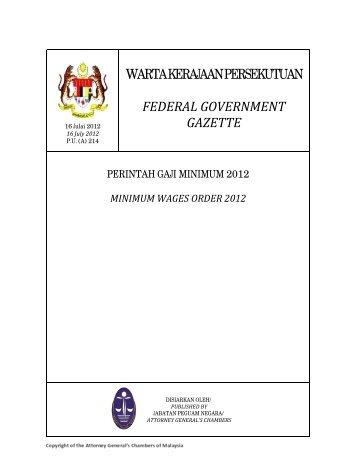 Minimum Wages Order 2012 - Kementerian Sumber Manusia
