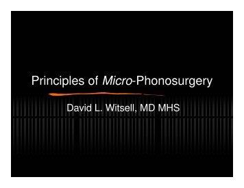 Principles of Micro-Phonosurgery