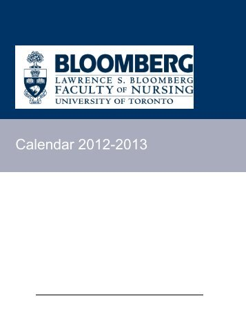 Calendar 2012-2013 - Lawrence S. Bloomberg Faculty of Nursing
