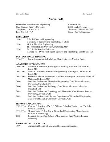 Curriculum Vitae Xin Yu, Sc - Department of Physiology and ...