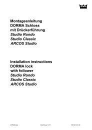 Montageanleitung DORMA Schloss mit Drückerführung Studio ...