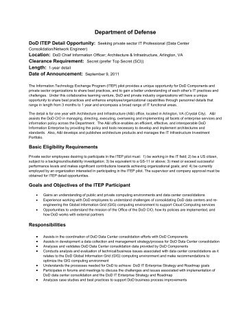 Details of Assignment Data Center Consolidation-Network Engineer