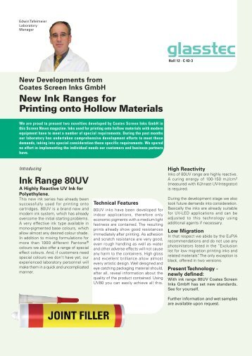 New Ink Ranges for Printing onto Hollow Materials - Coates Screen