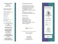 Our detailed service list - Gina's Designs