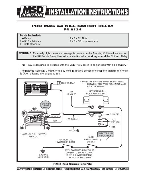 Pro Mag 44 Kill Switch Relay Wiring Diagram - MSD Pro-Mag.com Ignition Switch Relay Wiring on
