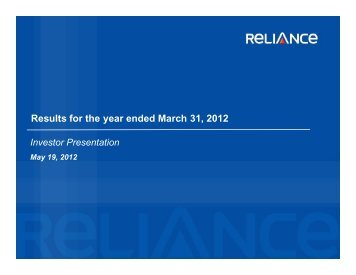 Results for the year ended March 31, 2012 - Reliance Capital