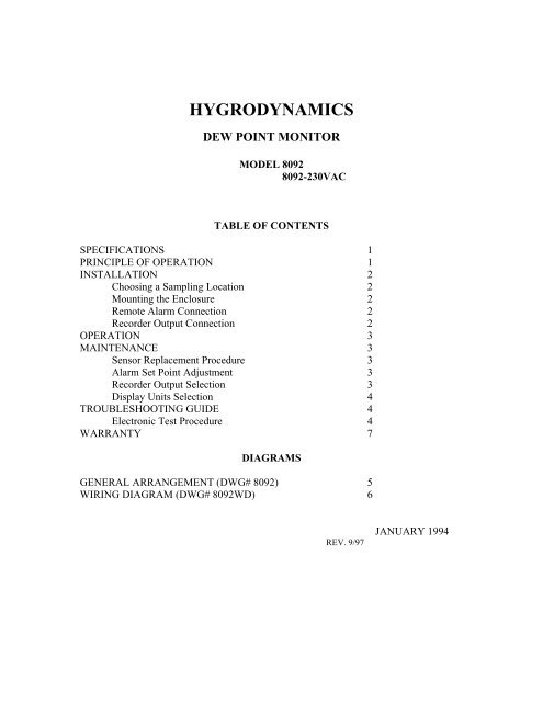 Hygrodynamics Dewpoint 8092 - Medical Gas Experts on