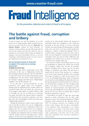 The battle against fraud, corruption and bribery
