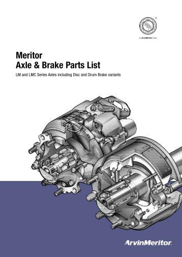 Brake Parts List : Q plus ¢ cam brake meritor