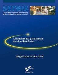 L'utilisation des probiotiques en milieu hospitalier Rapport d ... - CHUQ
