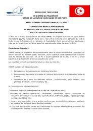 republique tunisienne ministere du transport office de la marine ...