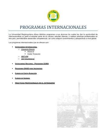 PROGRAMAS INTERNACIONALES - Universidad Regiomontana