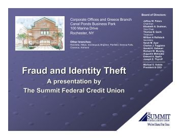 Fraud and Identity Theft - The Summit Federal Credit Union