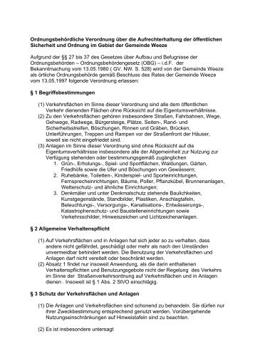 Ordnungsbehördliche Verordnung über die ... - Gemeinde Weeze