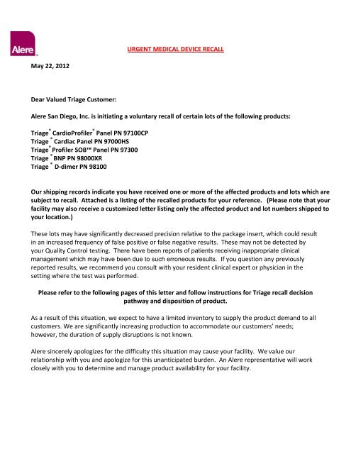 Alere Triage ® Voluntary Recall Letter