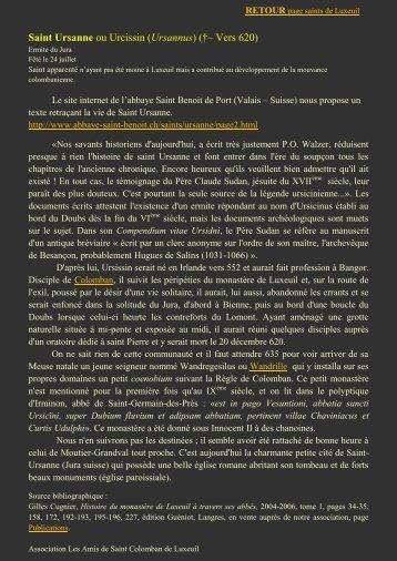 Saint Ursanne ou Urcissin (Ursannus) (†– Vers 620) - L'association ...