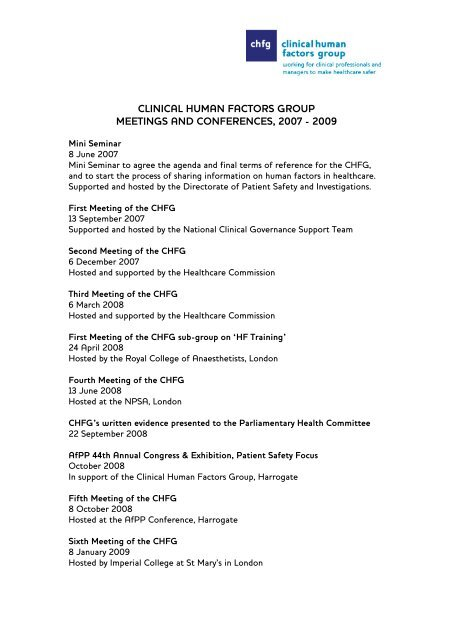 A complete list of CHFG meetings and events, 2007