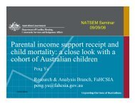 Parental income support receipt and child mortality: a ... - NATSEM