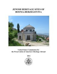 jewish heritage sites of bosnia-herzegovina - United States ...