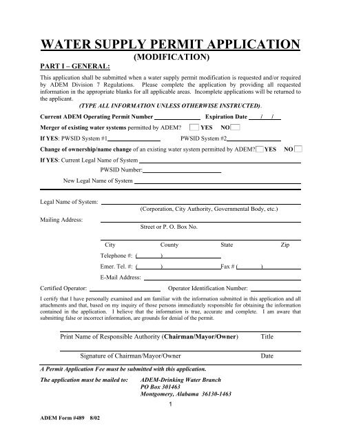 Water Supply Permit Application (Modification)