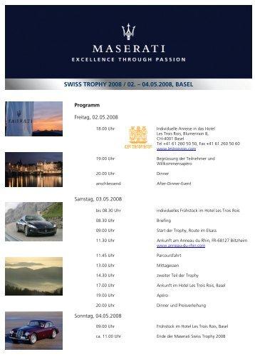 Einladung Swiss Trophy 08 - Maserati Club Schweiz