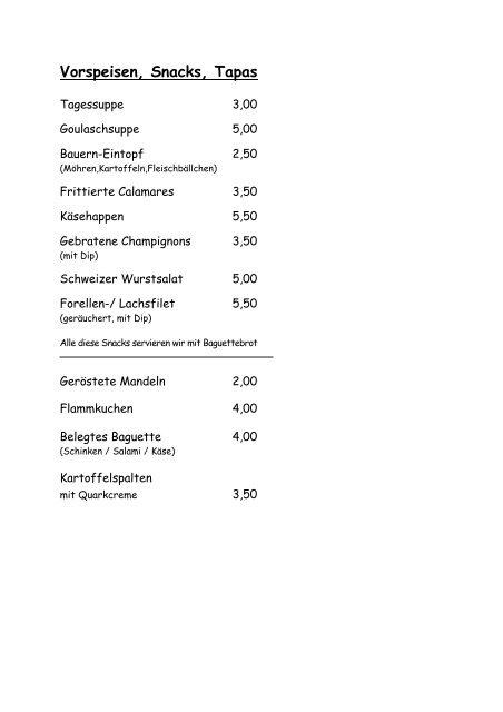 Vorspeisen, Snacks, Tapas - Weidenhof Plettenberg