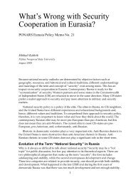 National Security - PONARS Eurasia