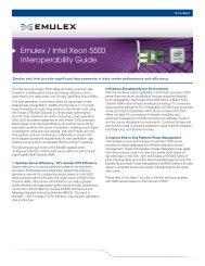 Emulex / Intel Xeon 5500 Interoperability Guide