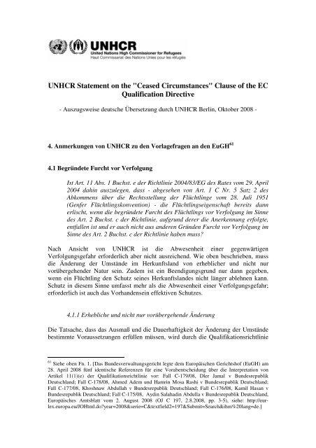 """Analyse zur Beendigung aufgrund der """"Wegfall der ... - UNHCR"""