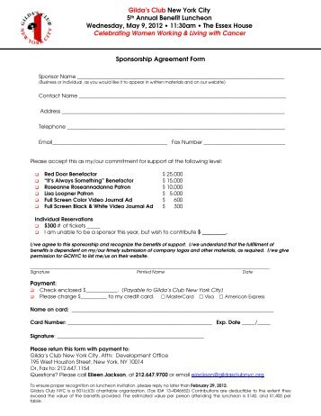 Download the Sponsorship and Benefits form - Gilda's Club New ...