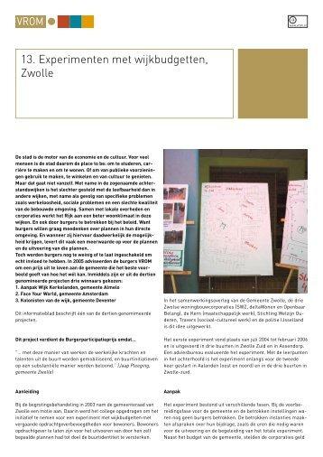 13. Experimenten met wijkbudgetten, Zwolle - Kennisbank