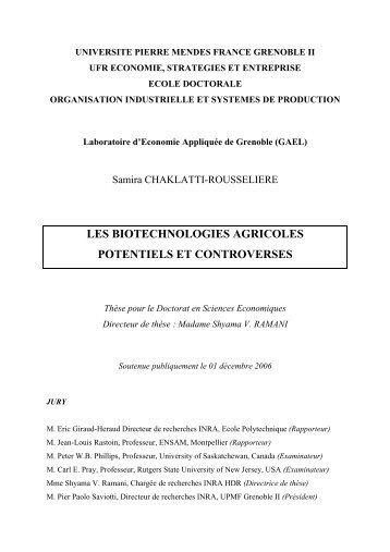 les biotechnologies agricoles potentiels et controverses
