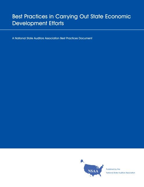 Best Practices in Carrying Out State Economic Development Efforts